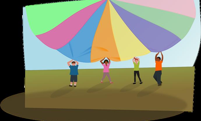 Juegos con paracaídas para fiestas infantiles
